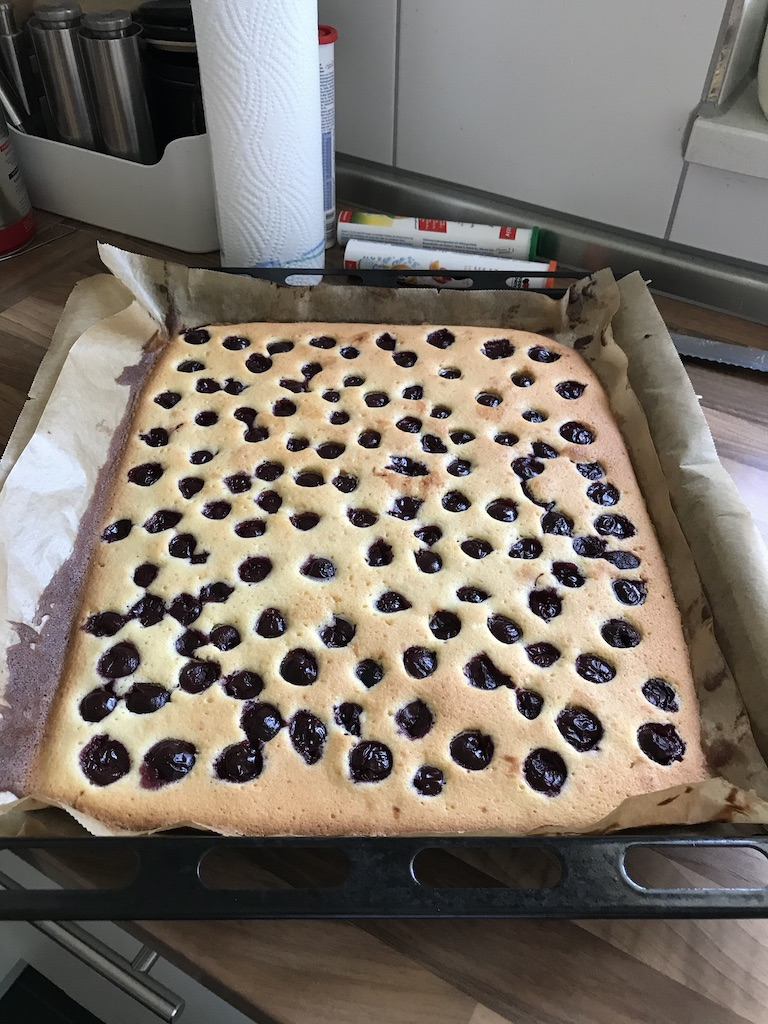 Schneewittchenkuchen Rezept Blech nach dem Backen